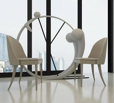 现代, 单椅, 椅子, 装饰, 摆件