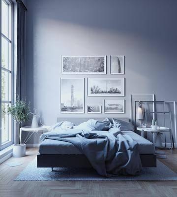 卧室, 双人床, 床头柜, 盆栽, 装饰画, 挂画, 照片墙, 台灯, 现代