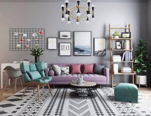 北欧沙发茶几组合, 北欧, 沙发, 茶几, 植物, 椅子, 现代吊灯, 书架