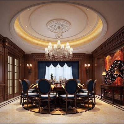 美式餐厅, 美式, 餐厅, 餐桌椅, 椅子, 欧式吊灯, 角线, 推拉门, 壁灯, 欧式吊顶