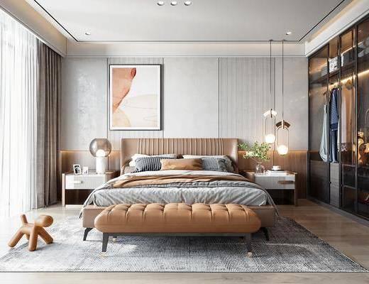 现代轻奢卧室, 双人床, 床尾凳, 吊灯, 衣柜
