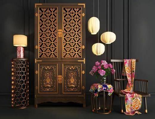 衣柜, 新中式衣柜, 单椅, 台灯, 吊灯, 新中式