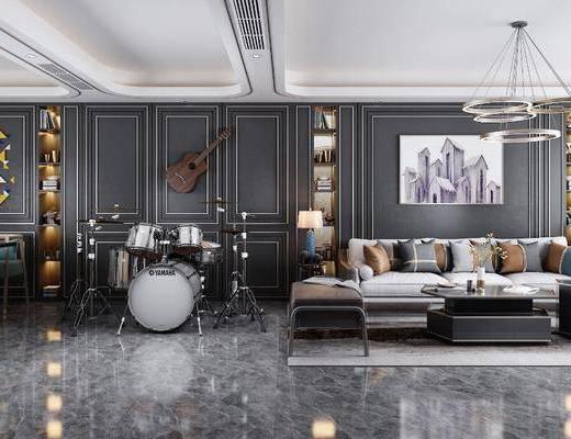 現代客廳, 客廳, 沙發組合, 餐廳, 餐桌椅