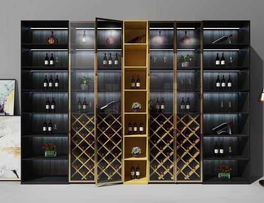 现代酒柜, 意式酒柜, 玻璃酒柜, 现代, 酒柜, 置物柜