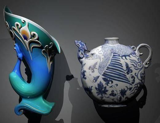 陶瓷器皿, 孔雀花瓶, 扁壶, 中式