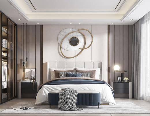 双人床, 墙饰, 衣柜, 床尾踏, 床头柜, 吊灯
