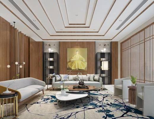 会议室, 多人沙发, 茶几, 单人沙发, 装饰画, 挂画, 边几, 吊灯, 落地灯, 新中式