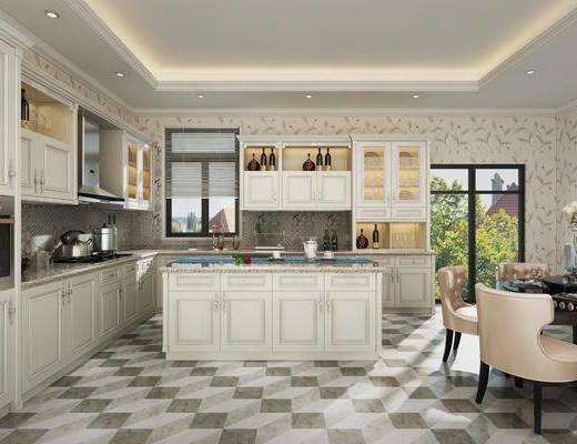 厨房, 橱柜, 厨具, 餐桌, 餐椅, 单人椅, 酒柜, 摆件, 装饰品, 陈设品, 欧式