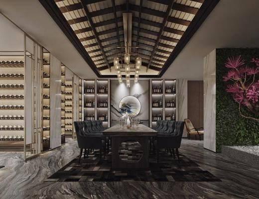 桌球室, 餐桌, 餐椅, 单人椅, 酒柜, 装饰柜, 吊灯, 墙饰, 装饰品, 陈设品, 过道走廊, 新中式