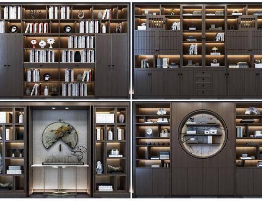 书柜, 装饰柜, 书籍, 案几, 摆件, 装饰品, 陈设品, 新中式