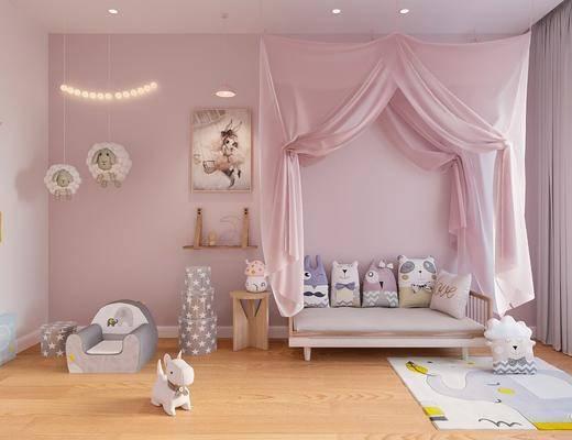 儿童房, 沙发组合, 玩具组合, 抱枕组合, 北欧