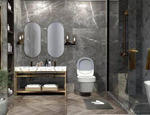 壁镜, 马桶, 洗手盆, 壁灯, 绿植