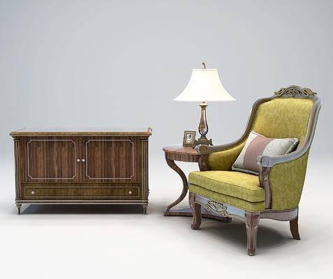 美式欧式装饰柜, 单人沙发
