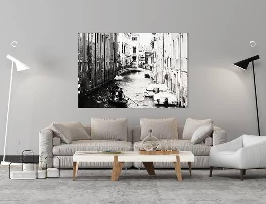 北欧, 沙发, 休闲椅, 茶几, 挂画, 落地灯