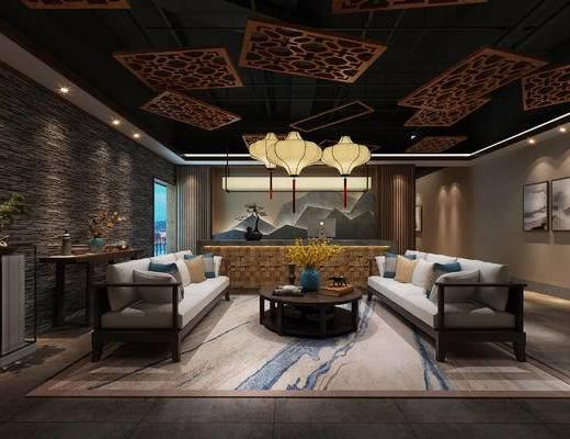 中式会所, 会所, 美容院, 新中式, 端景台, 沙发组合, 吊灯, 沙发茶几组合, 茶几