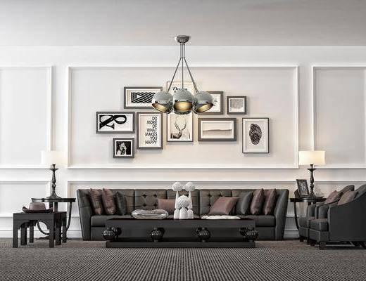 沙发组合, 茶几, 吊灯, 台灯, 摆件, 挂画, 现代简约, 现代沙发组合, 现代