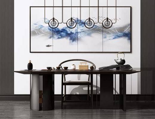 艺术吊灯, 洽谈桌, 茶桌, 装饰画, 茶具组合