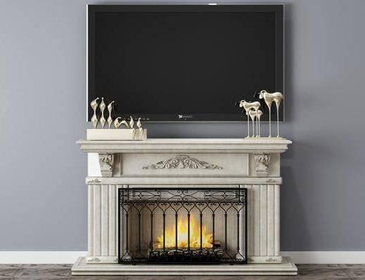 壁爐, 電視柜