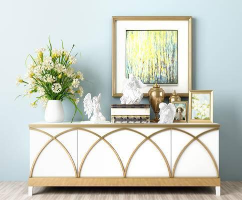 装饰品, 简约, 简欧, 玄关, 边柜, 装饰柜, 摆件, 花瓶, 书籍, 挂画