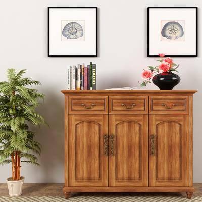 边柜, 摆件组合, 装饰画