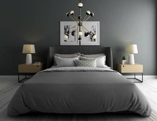 双人床, 床头柜, 台灯, 装饰画, 挂画, 现代