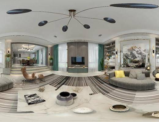 后现代客厅, 后现代餐厅, 客厅, 餐厅, 沙发茶几, 餐桌, 椅子, 电视柜, 吊灯, 置物柜, 摆件