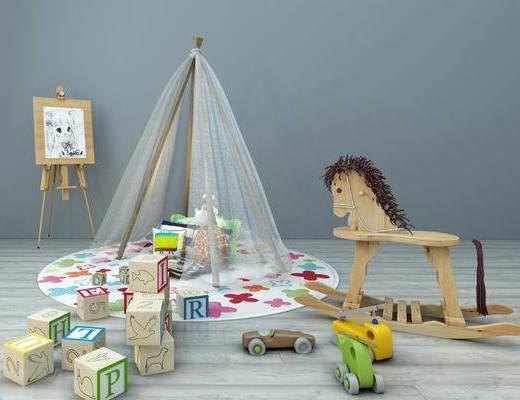 儿童用具, 儿童玩具, 积木, 木马, 画架, 蚊帐, 装饰品摆件