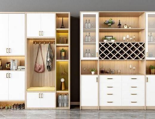 酒柜, 鞋柜组合, 装饰柜, 摆件, 装饰品, 陈设品, 北欧