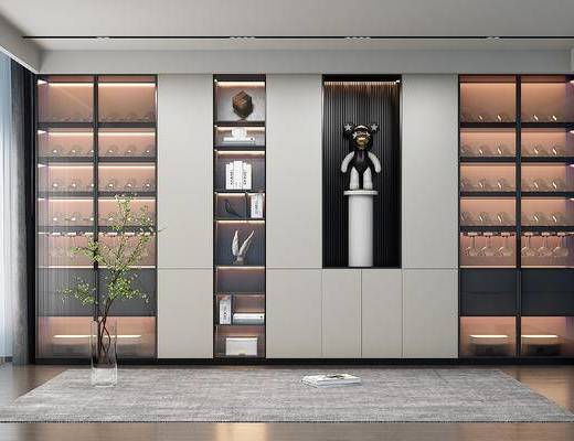 现代玻璃酒柜