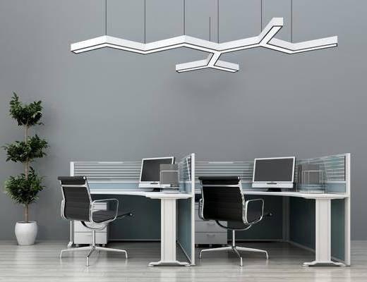 办公桌, 单人椅, 办公椅, 吊灯, 盆栽, 现代