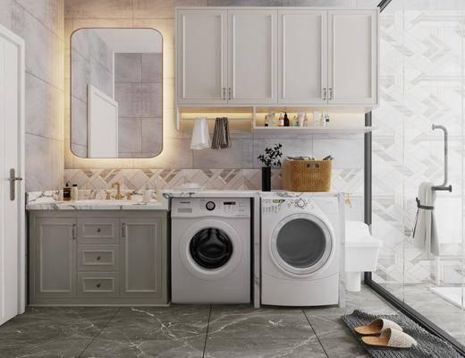 卫浴, 洗衣机, 壁镜, 柜架组合