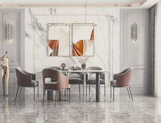 现代, 餐桌椅, 摆件, 装饰画