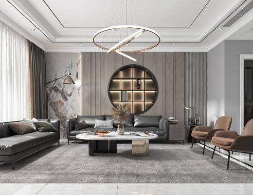 现代轻奢, 客厅, 多人沙发, 吊灯, 边几, 休闲椅