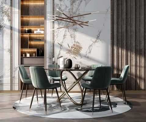 餐桌, 桌椅组合, 装饰画, 置物柜