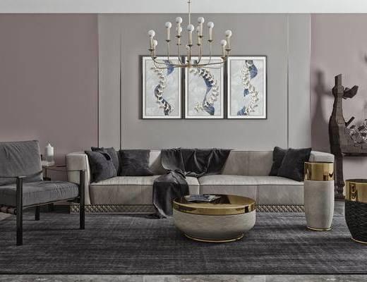 吊灯, 地毯, 单椅, 边几, 摆件装饰品, 雕塑