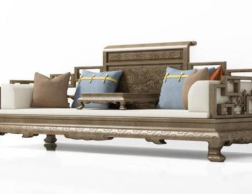 中式, 新中式, 多人沙发, 抱枕