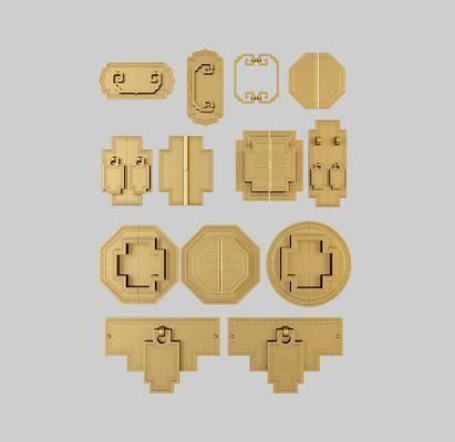 門把, 新中式門拉手3d模型, 金屬