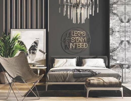 现代床具, 现代双人床, 现代吊灯, 水晶吊灯, 现代盆栽, 单人椅, 床头柜, 床尾踏