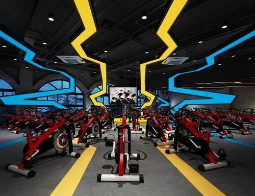 健身房, 健身室, 健身器材, 动感单车, 现代