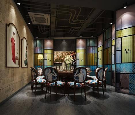 餐厅, 包厢, 餐桌, 餐椅, 单人椅, 装饰画, 挂画, 摆件, 装饰品, 陈设品, 中式
