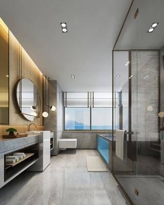 衛生間, 花灑組合, 洗手臺組合, 吊燈組合, 現代