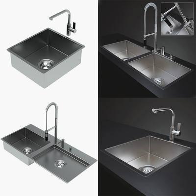 现代, 水龙头, 水槽, 构件, 不锈钢