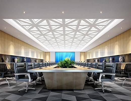 会议室, 桌椅组合, 单椅, 摆件组合