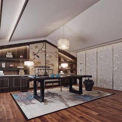 书房, 书桌椅, 桌子, 椅子, 台灯, 吊灯, 地毯, 新中式, 中式