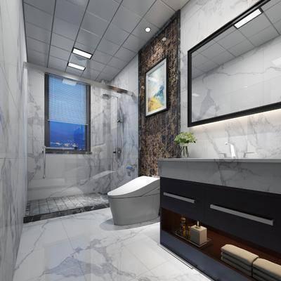 卫生间, 洗手台, 淋浴间, 现代