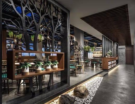 餐厅, 主题餐厅, 工业风餐厅, 桌椅组合, 隔断, 植物, 绿植, 工业风