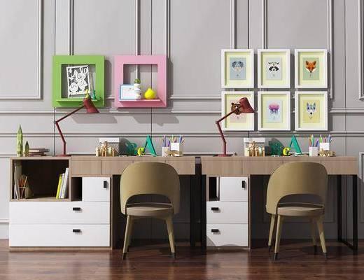 书桌, 写字桌, 台灯, 装饰画, 挂画, 照片墙, 摆件, 装饰品, 陈设品, 单人椅, 北欧