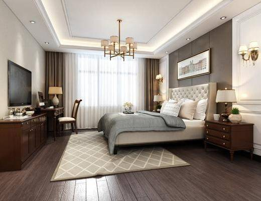 美式卧室床电视柜装饰画吊灯, 美式, 卧室, 床, 床头柜, 壁灯, 吊灯