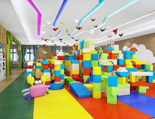 幼儿园多米活动室, 过道, 积木, 玩具, 书桌椅, 吊灯, 置物架, 墙饰