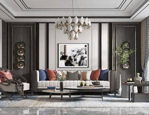 新中式, 客厅, 多人沙发, 边几, 吊灯, 地毯, 装饰画
